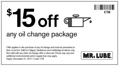 $15 off any oil change package